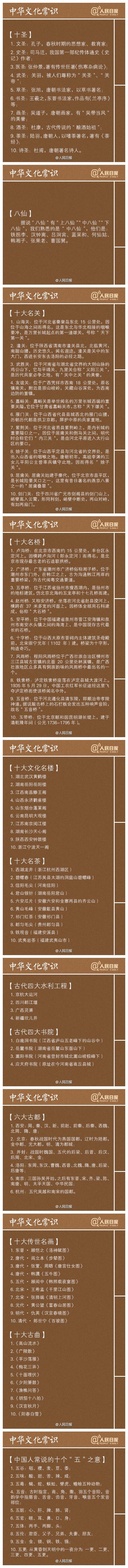 常识积累:最全中华文化常识